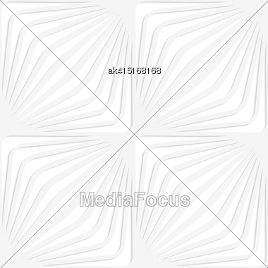 White Paper Background. Seamless Patter With Cut Out Paper Effect. Realistic Shadow Creates 3D Modern Texture.Paper White Diagonally Striped Squares Stock Photo