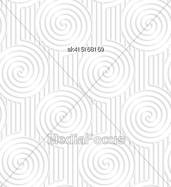 White Paper Background. Seamless Patter With Cut Out Paper Effect. Realistic Shadow Creates 3D Modern Texture.Paper White Spirals On Continues Lines Stock Photo