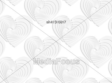 White Paper Background. Seamless Patter With Cut Out Paper Effect. Realistic Shadow Creates 3D Modern Texture.Paper White Textured Hearts Stock Photo