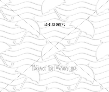 White Paper Background. Seamless Patter With Cut Out Paper Effect. Realistic Shadow Creates 3D Modern Texture.Paper White Umbrellas On Waves Stock Photo