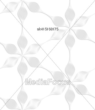 White Paper Background. Seamless Patter With Cut Out Paper Effect. Realistic Shadow Creates 3D Modern Texture.Paper White Six Pedal Flowers Stock Photo