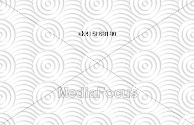 White Paper Background. Seamless Patter With Cut Out Paper Effect. Realistic Shadow Creates 3D Modern Texture.Paper White Circles On Bulging Waves Stock Photo
