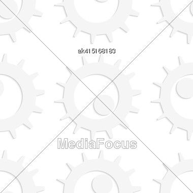 White Paper Background. Seamless Patter With Cut Out Paper Effect. Realistic Shadow Creates 3D Modern Texture.Paper White Gears With Rolling Ball Stock Photo
