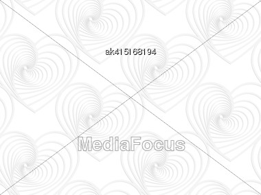 White Paper Background. Seamless Patter With Cut Out Paper Effect. Realistic Shadow Creates 3D Modern Texture.Paper White Striped Hearts Stock Photo