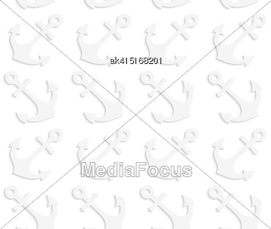 White Paper Background. Seamless Patter With Cut Out Paper Effect. Realistic Shadow Creates 3D Modern Texture.Paper White Solid Anchors Stock Photo
