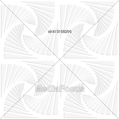 White Paper Background. Seamless Patter With Cut Out Paper Effect. Realistic Shadow Creates 3D Modern Texture.Paper White Squares Split And Swirled Stock Photo