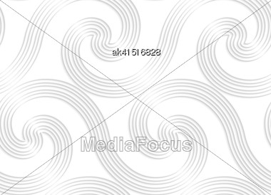 White Paper Background. Seamless Patter With Cut Out Paper Effect. Realistic Shadow Creates 3D Modern Texture.Paper White Striped Spiral Waves Big Stock Photo