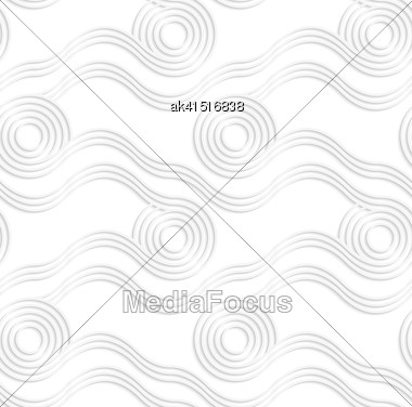 White Paper Background. Seamless Patter With Cut Out Paper Effect. Realistic Shadow Creates 3D Modern Texture.Paper White Rolling Spools Stock Photo