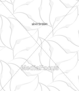 White Paper Background. Seamless Patter With Cut Out Paper Effect. Realistic Shadow Creates 3D Modern Texture.Paper White Pointy Leaves Forming Flower Stock Photo