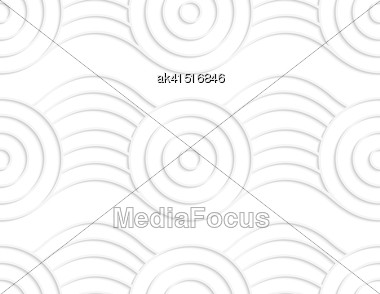 White Paper Background. Seamless Patter With Cut Out Paper Effect. Realistic Shadow Creates 3D Modern Texture.Paper White Circles On Bulging Ribbon Stock Photo
