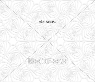 White Paper Background. Seamless Patter With Cut Out Paper Effect. Realistic Shadow Creates 3D Modern Texture.Paper White Twisted Striped Sea Shells Stock Photo