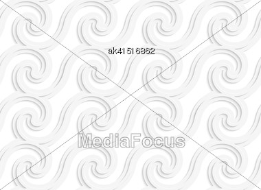 White Paper Background. Seamless Patter With Cut Out Paper Effect. Realistic Shadow Creates 3D Modern Texture.Paper White Striped Spiral Waves Stock Photo