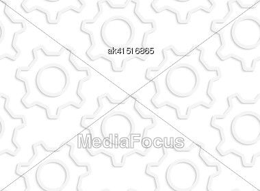 White Paper Background. Seamless Patter With Cut Out Paper Effect. Realistic Shadow Creates 3D Modern Texture.Paper White Simple Gears Contoured Stock Photo