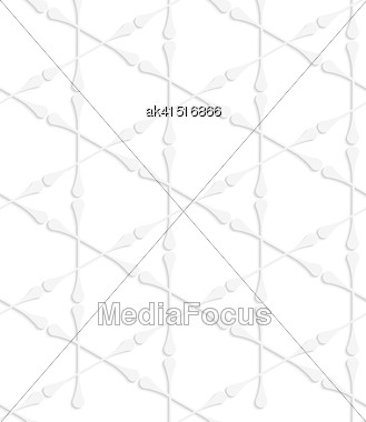 White Paper Background. Seamless Patter With Cut Out Paper Effect. Realistic Shadow Creates 3D Modern Texture.Paper White Clubs Forming Triangles Stock Photo