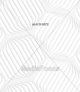 White Paper Background. Seamless Patter With Cut Out Paper Effect. Realistic Shadow Creates 3D Modern Texture.Paper White Rounded Striped Hexagons Stock Photo