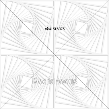 White Paper Background. Seamless Patter With Cut Out Paper Effect. Realistic Shadow Creates 3D Modern Texture.Paper White Squares With Inside Swirling Stock Photo