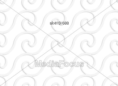 White Paper Background. Seamless Patter With Cut Out Paper Effect. Realistic Shadow Creates 3D Modern Texture.Paper White Solid Spiral Waves Stock Photo