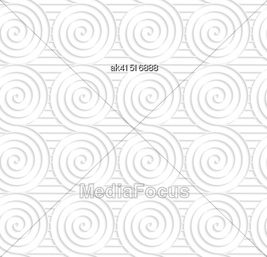 White Paper Background. Seamless Patter With Cut Out Paper Effect. Realistic Shadow Creates 3D Modern Texture.Paper White Merging Spirals On Stripes Stock Photo