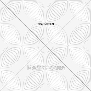 White Paper Background. Seamless Patter With Cut Out Paper Effect. Realistic Shadow Creates 3D Modern Texture.Paper White Perforated Stripes Forming Squares Stock Photo
