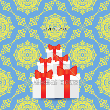 White Paper Boxes With Red Pibbons On Blue Yellow Ornamental Background. Stack Of Gift Cardboards Stock Photo