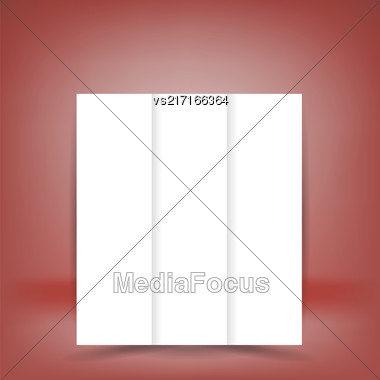 White Paper Brochure Isolated On Soft Red Background Stock Photo