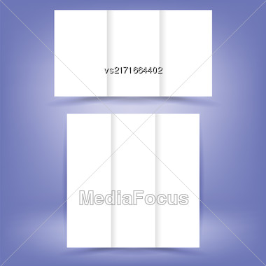 White Paper Brochures Isolated On Soft Blue Background Stock Photo