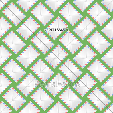 White Paper Envelope Seamless Pattern On Green Background Stock Photo