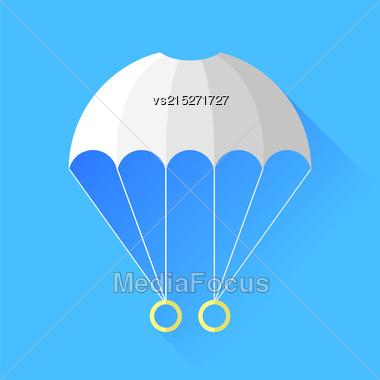 White Parachute Icon Isolated On Blue Background Stock Photo