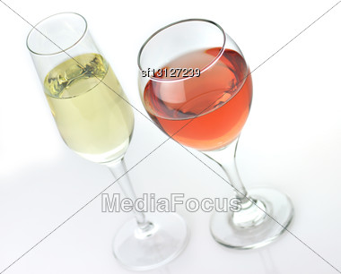 White And Pink Wine Glasses , Close Up Stock Photo