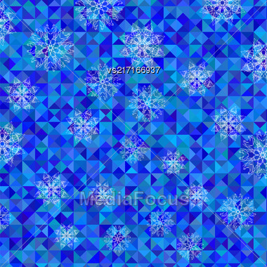 White Snowflake Pattern On Blue. Christmas Symmetric Triangle Background Stock Photo