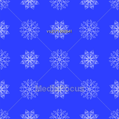 White Snowflake Seamless Pattern On Blue. Christmas Symmetric Background Stock Photo