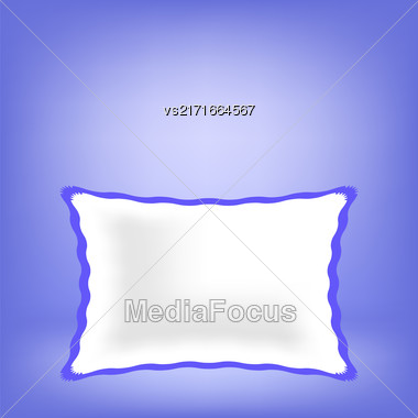 White Soft Pillow Isolated On Blue Blurred Background Stock Photo