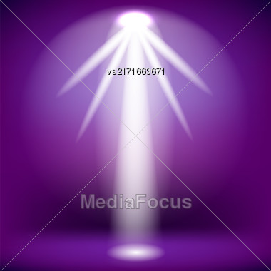 White Spotlight Isolated On Purple Background.Stage Spotlight Background Stock Photo