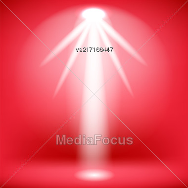 White Spotlight Isolated On Red Background.Stage Spotlight Background Stock Photo
