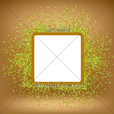 White Square Banner On Orange Gradient Background With Paper Confetti Stock Photo