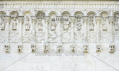 white stone carvings, ancient church, Russia Stock Photo