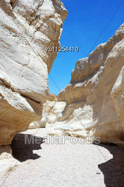 White Stones Of Makhtesh Ramon, Unique Crater In Israel Stock Photo