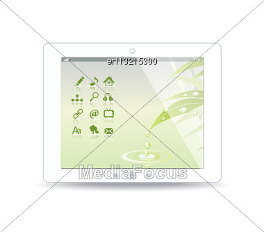 White Tablet Pc On White Background Stock Photo