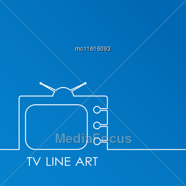White TV On Blue Background, Abstract Line Art Vector Illustration. TV Concept Stock Photo