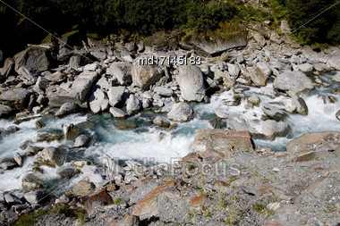 White Water New Zealand River South Island Stock Photo
