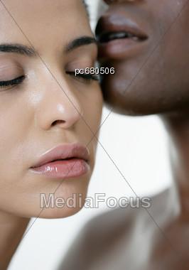 White Women And Black Men, Faces, Detail Stock Photo
