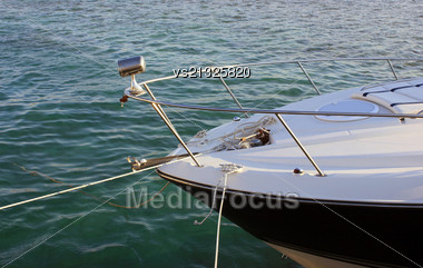 White Yacht Is In Port Stock Photo