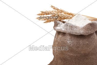 Whole Flour With Wheat Ears Stock Photo