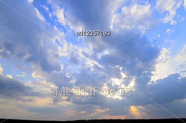 Wide Angle Blue Sky With Daylight Background Stock Photo