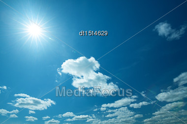 Wide Blue Skies And Sun, Abstract Natural Backgrounds Stock Photo