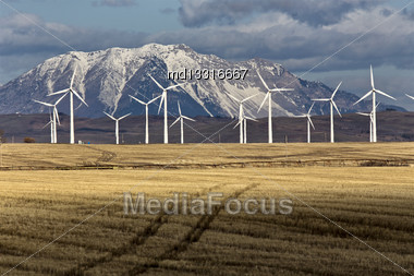 Wind Farm Canada Pincher Creek Rocky Mountains Stock Photo