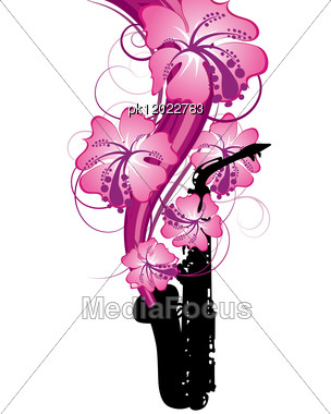 Wind Instrument With Floral Border For Design Use. Vector Illustration. Stock Photo