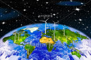 Stock photo wind turbines world map background night image royalty free stock photo wind turbines on a world map background of night sky gumiabroncs Gallery