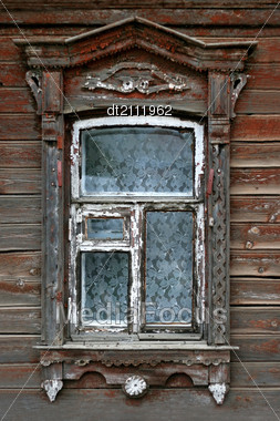 Stock Photo Window Very Old Wooden Russian House Image DT2111962