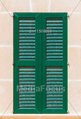 Window With Green Shutters. Close-up View Stock Photo